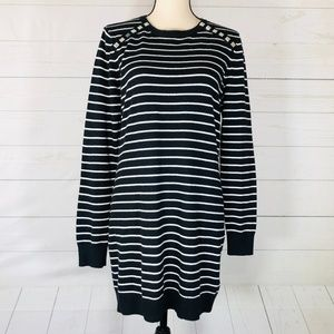 Michael Kors Black & White Tunic Sweater Size L